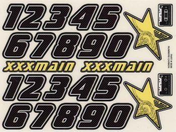 XXX Main Racing Decals Carbon Sticker Sheet Numbers