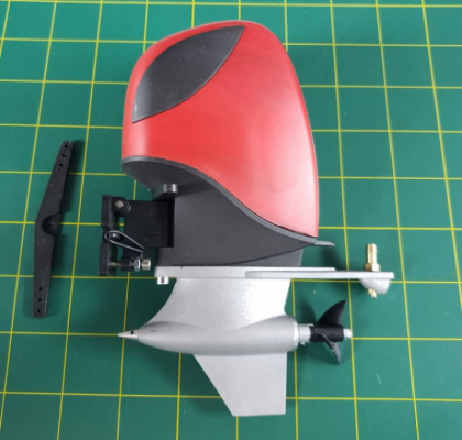 Scale Outboard with Metal Lower Unit: Red/Black
