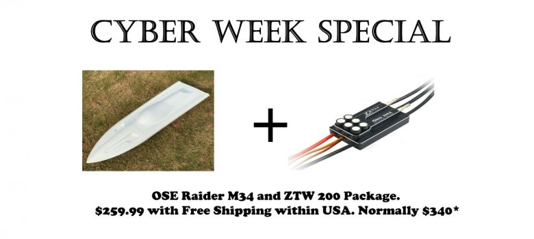 Cyber Monday Special : OSE Fiberglass Raider M34 Hull & ZTW 200 ESC