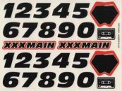 XXX Main Racing Decals Black Sticker Sheet Numbers