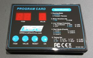 Programming Card for OSE Raider Esc's