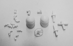 Driver heads and plastic parts.